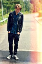 black Converse shoes - black Cheap Monday jeans - black jacket