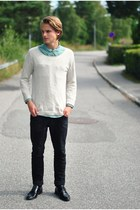 second hand shirt - Din Sko shoes - Topman sweater - Cheap Monday pants