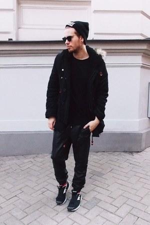 black Tally Weijl hat - black Ebay jacket - black giant vintage glasses