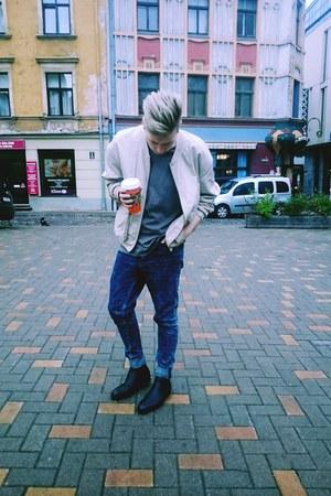 black H&M boots - navy H&M jeans - beige H&M jacket