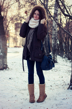 navy asos jeans - cream DIY scarf - navy Accessorize bag