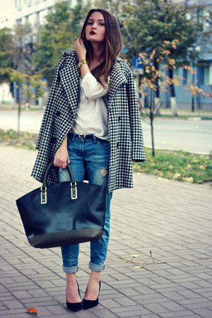 white houndstooth PERSUNMALL coat - sky blue boyfriend asos jeans