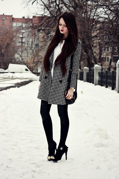 black houndstooth PERSUNMALL coat - black suede Bershka boots
