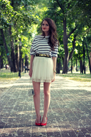 white striped Zara top - off white transparent Zara bag