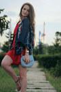 Red-walktrendy-dress-sky-blue-michael-kors-bag-navy-sheinside-cardigan