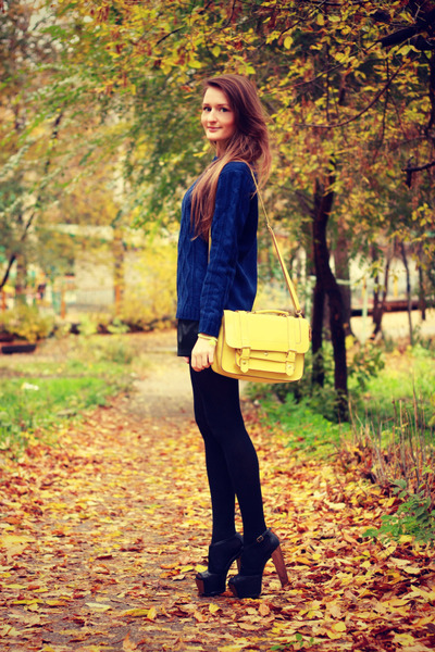 light yellow Accessorize bag - navy pull&bear sweater - black asos heels