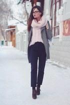light pink wool Bershka sweater - black houndstooth PERSUNMALL coat