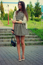 black skater asos dress - beige leather Marc by Marc Jacobs bag - zara flats