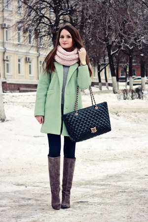 light blue mint Sheinside coat - heather gray suede Yoox boots