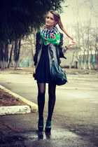 green Accessorize scarf - navy asos dress - navy Accessorize bag