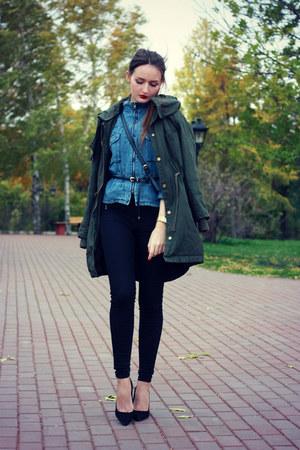 black skinny Zara jeans - forest green parka asos coat