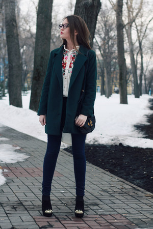 black suede Bershka boots - dark green oversized Sheinside coat