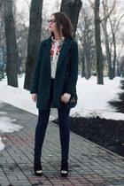 black suede Bershka boots - dark green oversized Sheinside coat