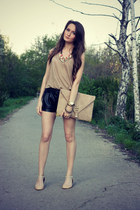 tan asos bag - tan Zara top - beige Zara flats - coral Accessorize necklace