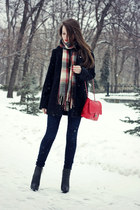 black quilted Zara boots - black wool ostin coat - navy skinny asos jeans