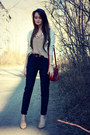 Nude-zara-shoes-crimson-accessorize-bag-navy-zara-pants-brown-zara-top