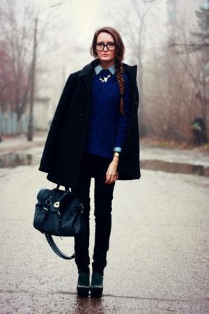 black ostin coat - navy pull&bear sweater - blue reserved bag