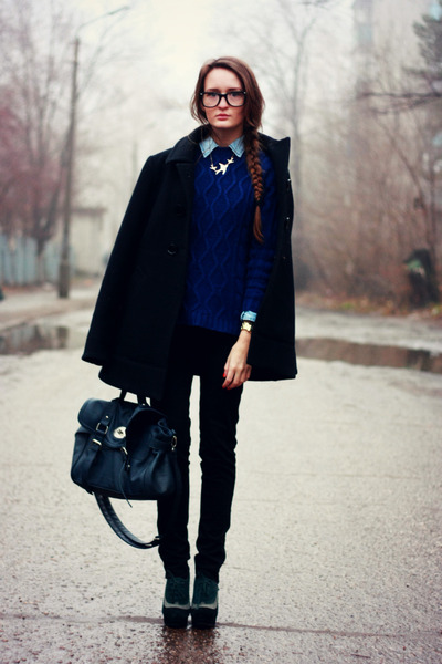 black ostin coat - navy pull&bear sweater - blue reserved bag