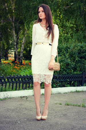ivory crochet Chicwish skirt - ivory cotton Zara shirt
