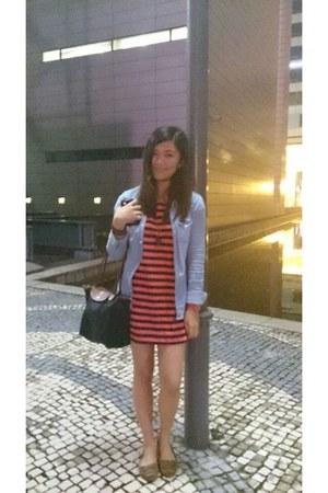 brown brown Forever 21 shoes - sky blue denim H&M blazer