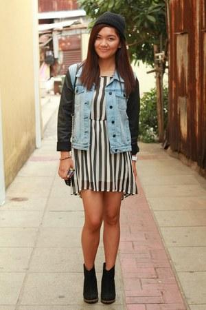 black boots new look boots - black stripes H&M dress