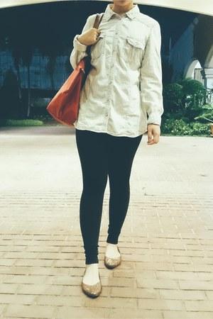 denim Marks and Spencer top - black tights Marks and Spencer leggings