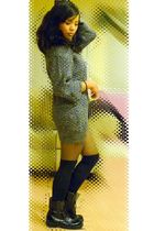 black Design-Nordstrom sweater - gray Urban Outfitters tights - black Macys stoc
