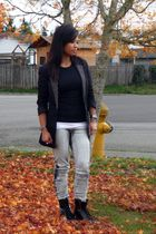 black Express coat - black Old Navy t-shirt - gray Macys jeans - black Aldo boot