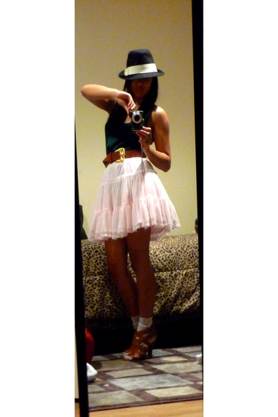 green Nordstrom top - pink Old Navy kids skirt - white Wetseal socks - black gif