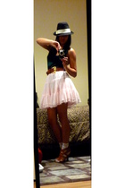 green Nordstrom top - pink Old Navy kids skirt - white Wetseal socks - black gif