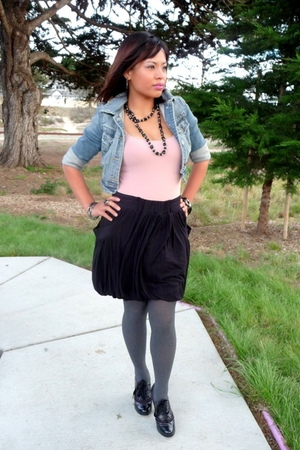 blue hollister jacket - beige hollister top - black American Rag skirt - gray Ma