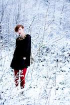 black Topshop dress - ruby red River Island tights