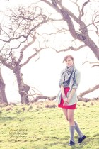 heather gray Topshop scarf - red H&M skirt - black Urban Outfitters flats