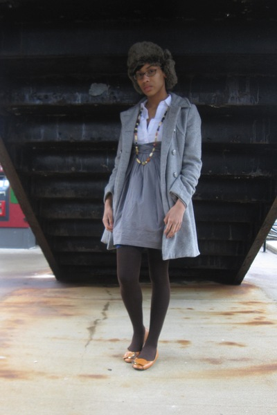orange shoes - gray H&M coat - blue tights - brown socks - white dress