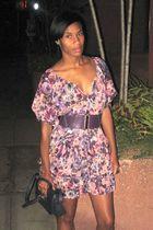 H&M dress - silver Forever 21 - purse - purple belt