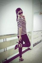 black polish legging Zara leggings - dark brown Valentino sunglasses - white cot
