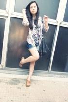 ColorBox shirt - black Mango bag - navy River Island shorts - salmon Zara t-shir