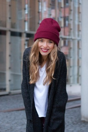 dark gray wool Zara cardigan - maroon beanie American Apparel accessories