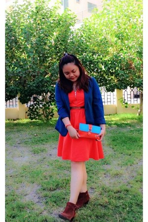 teal Forever 21 blazer - burnt orange Nine West boots - carrot orange H&M dress