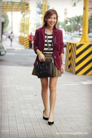 burgundy apprasiery blazer - nano Celine bag