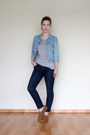 navy Loft jeans - light blue Yuge jacket - brown Stilmoda flats