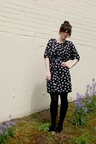 black Urban Outfitters glasses - black DIY dress - black Target tights - black U