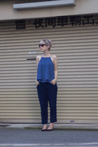 brown Mango sunglasses - blue Mango top - blue Zara pants - brown Frye flats