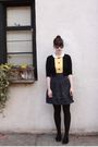 Yellow-thrifted-dress-black-forever-21-cardigan-black-urban-outfitters-skirt