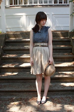brown thrifted belt - blue thrifted shoes - blue Anthropologie dress
