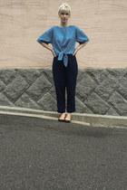 blue Urban Research top - ivory Subway Vendor hair accessory - navy Zara pants