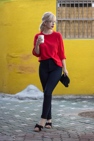 black sephora bag - red JCrew sweater - navy H&M pants - black flats