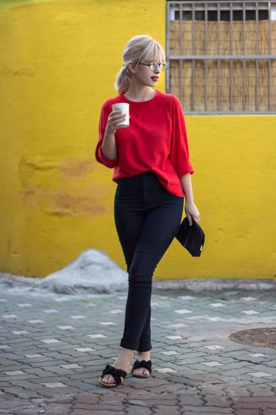 black sephora bag - red JCrew sweater - navy H&M pants - black flats