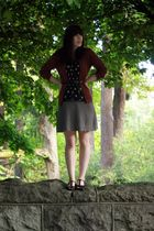 brown Eddie Bauer cardigan - black thrifted belt - black Anthropologie blouse -