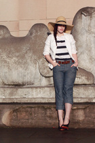 beige Urban Outfitters hat - black red soles Oh Deer shoes - white Jcrew blazer